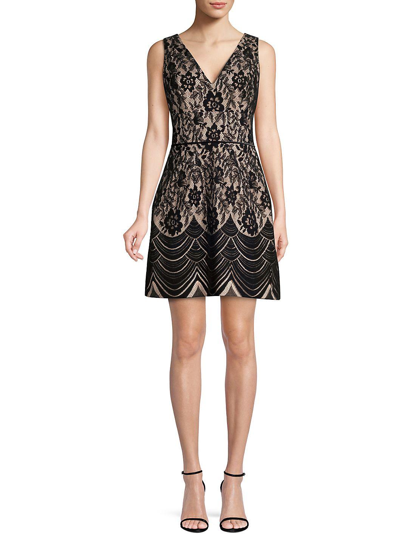Flocked Lace A-Line Dress