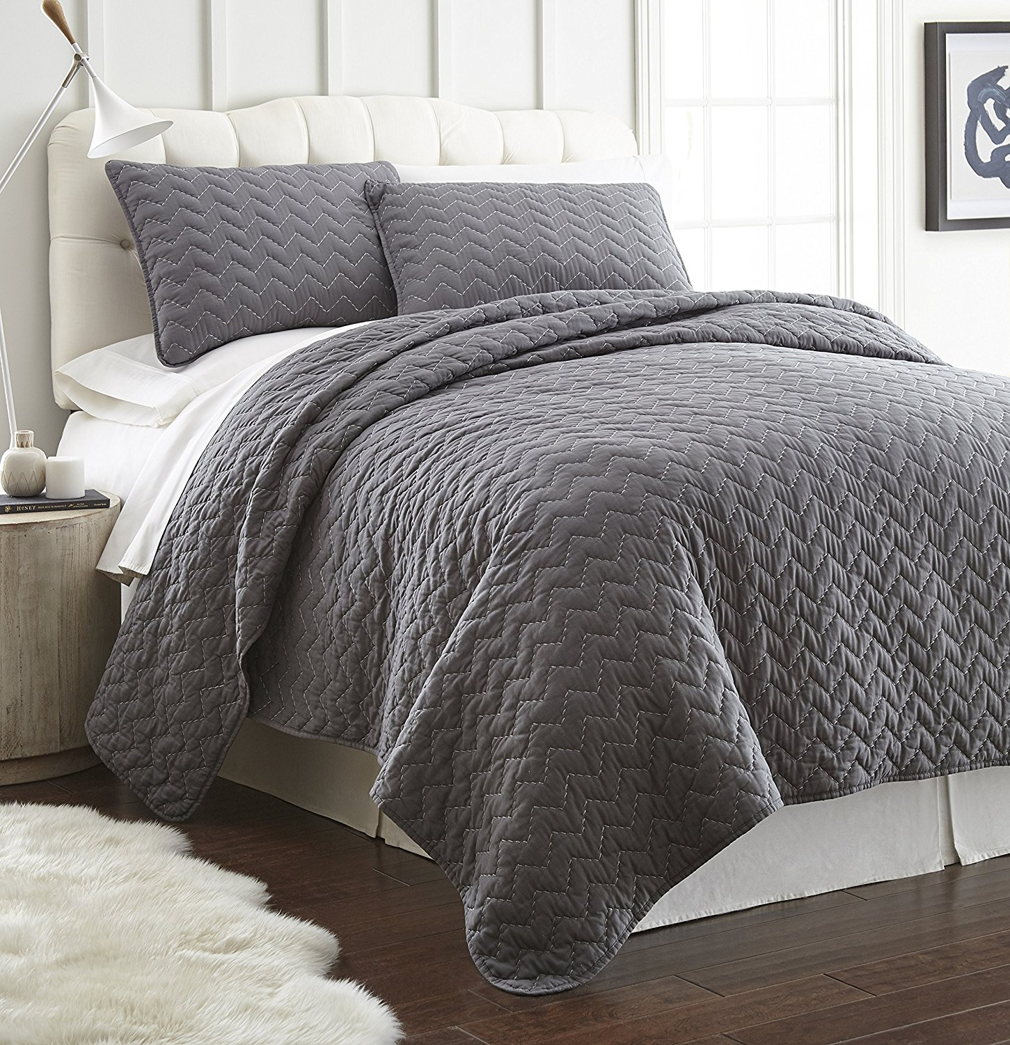 Chezmoi Collection Wesley 3-Piece Chevron Zigzag Vintage Washed Quilt Set