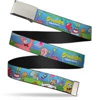 Blank Chrome Buckle Sponge Bob And Friends Logo Webbing Web Belt