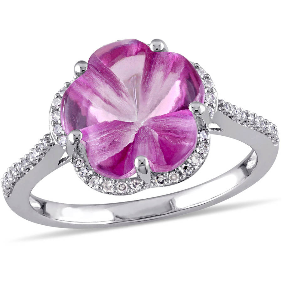 Tangelo 6-1 4 Carat T.G.W. Pink Topaz and 1 6 Carat T.W. Diamond Sterling Silver Flower Ring by Tangelo