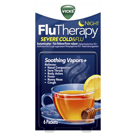 Vicks FluTherapy SEVERE Cold & Flu Nighttime, Hot Drink, Soothing Vapors, Relieves Nasal Congestion, Sore Throat, Aches, Fever, Cough, Honey Lemon 6ct