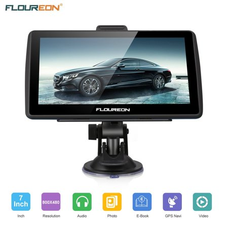 Floureon Portable Car GPS, 7 inch 8GB Spoken Turn-by-Turn Vehicle GPS Navigator Navigation System with USB Cable, Lifetime Map Updates,