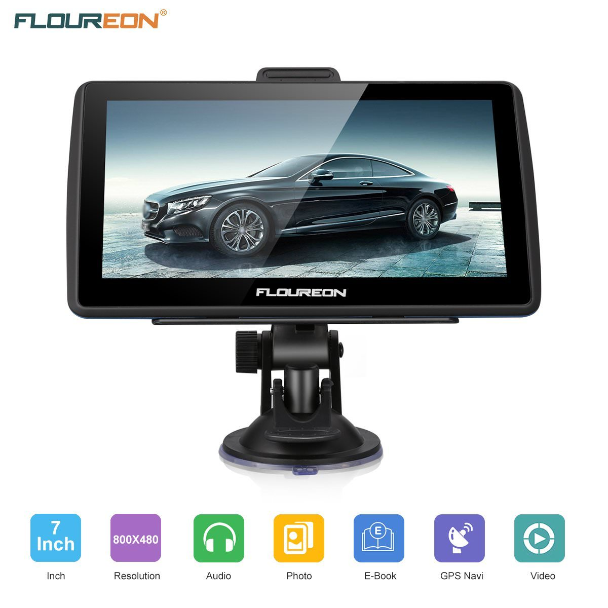 Floureon GPS Navigation for Car, 7 inches 8GB Lifetime Map Update Spoken Turn-to-turn Navigation System for Cars, Vehicle GPS Navigator