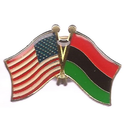 PACK of 3 African American & US Crossed Flag Lapel Pins, Afro American Double Friendship Pin Badge - Us Flag Pins