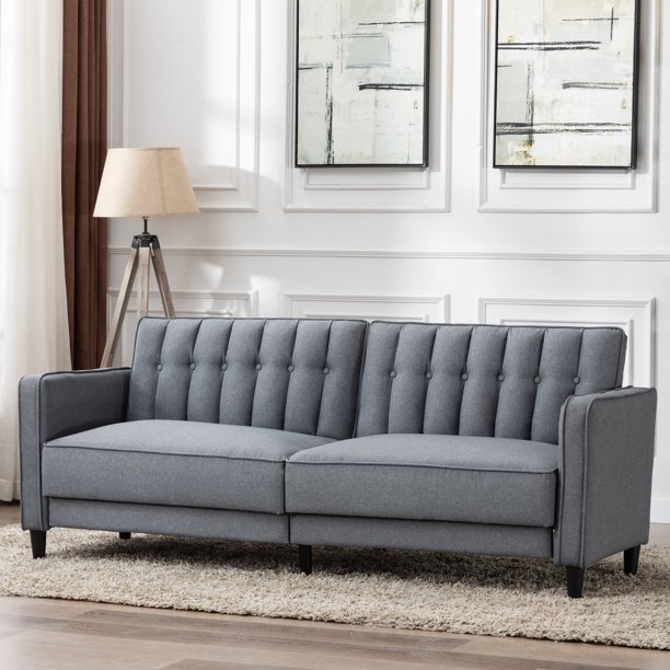 AC Pacific Tufted Noah Modern Sleeper Sofa Bed, Grey ...