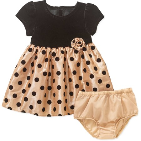 8caec33a17dc George - Infant Girls Gold & Black Polka Dot Holiday Christmas Party Dress  - Walmart.com