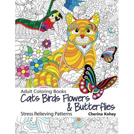 Adult Coloring Book Cats Birds Flowers And Butterflies