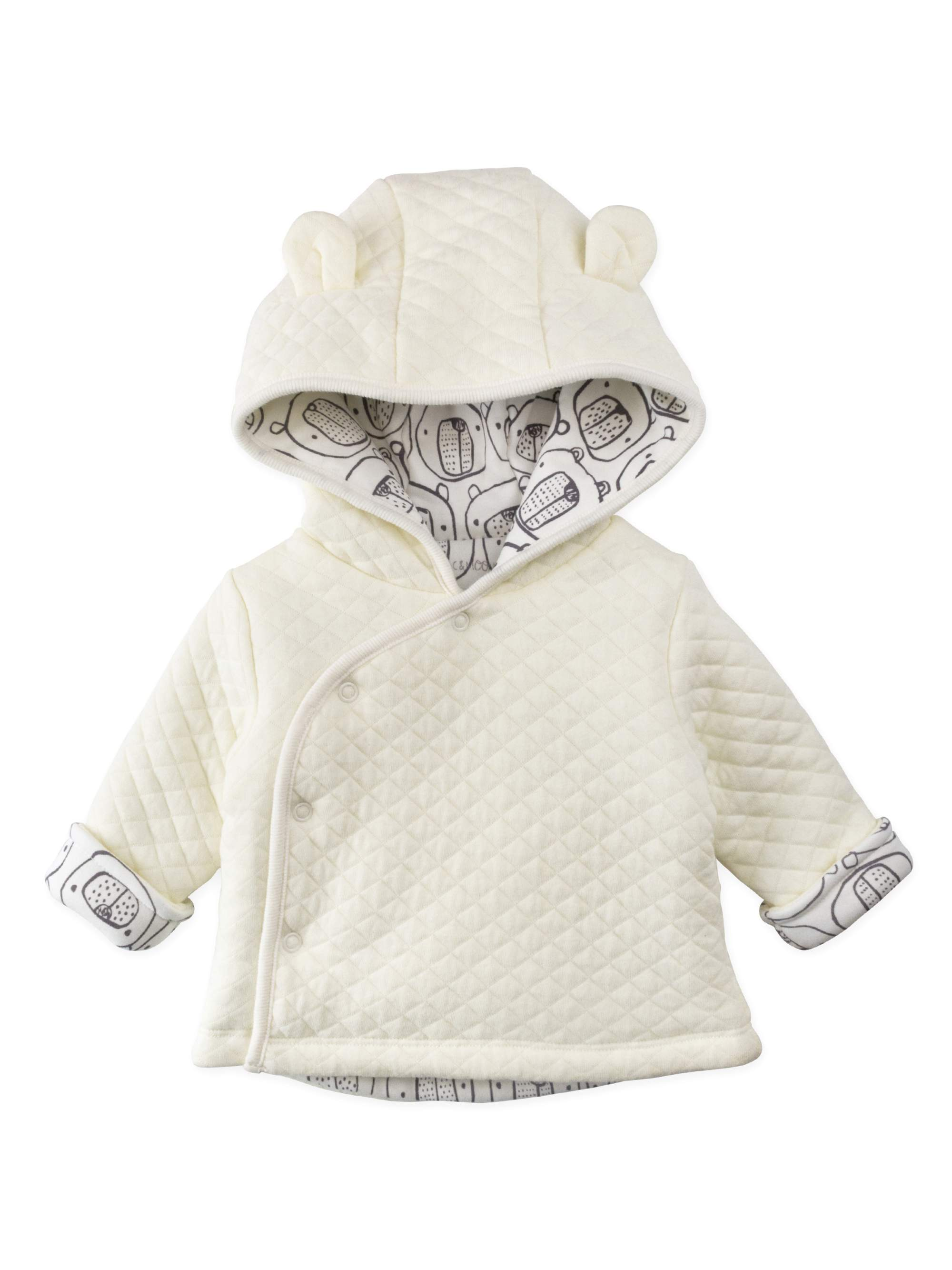 Mac & Moon Quilted Hooded Bear Ear Cardigan (Baby Boys or Baby Girls Unisex)