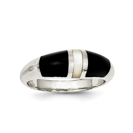 Sterling Silver Onyx & Mother of Pearl Ring Pearl Sterling Silver Designer Ring