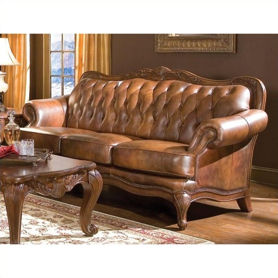 Coaster Company Victoria Sofa, Tri-Tone Leather