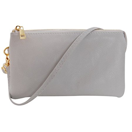 Vegan Leather Small Crossbody Bag or Wristlet Clutch Purse, Includes Adjustable Shoulder and Wrist Straps, Dove Grey, Light Gray, by Humble Chic NY
