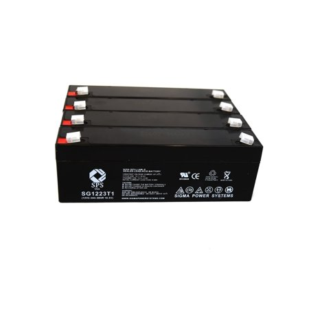 5105 Battery - SPS Brand 12V 2.3 Ah Replacement Battery  for Nihon Kohden CARDIOFAX ECG 5105 (4 pack)