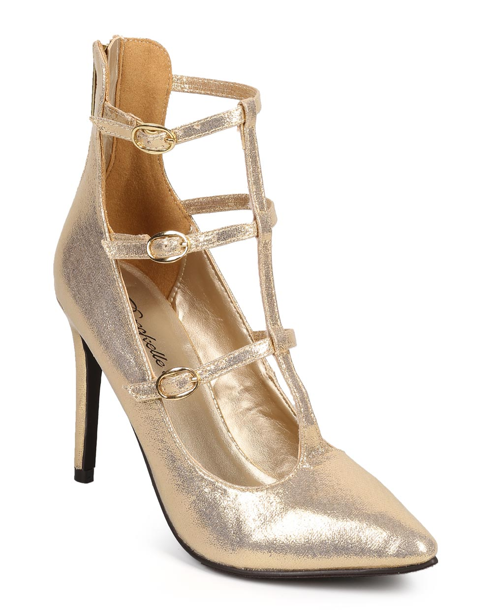 New Women Breckelles Lydia-24 Leatherette Pointy Lace Up Stiletto Pump