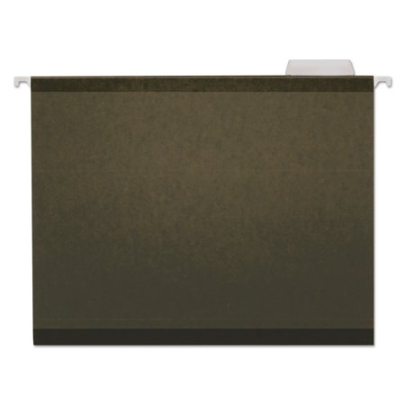 Universal Reinforced Recycled Hanging Folder, 1/5 Cut, Letter, Standard Green, 25/Box (Recycled Reinforced)