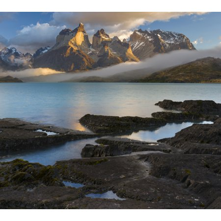 Morning Clouds Over The Peaks Of The Cuernos Del Paine And Lake Pehoe Torres Del Paine National Park Chile Canvas Art   Panoramic Images  24 X 24