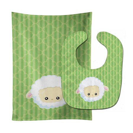 - Sheep Lamb Face Baby Bib & Burp Cloth BB6928STBU