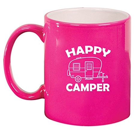 Ceramic Coffee Tea Mug Happy Camper (Pink)