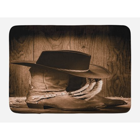 Western Bath Mat, Wild West Themed Cowboy Hat and Old Ranching Rope On Wooden Display Rodeo Cowboy Style, Non-Slip Plush Mat Bathroom Kitchen Laundry Room Decor, 29.5 X 17.5 Inches, Brown, Ambesonne - Cowboy Room Decor