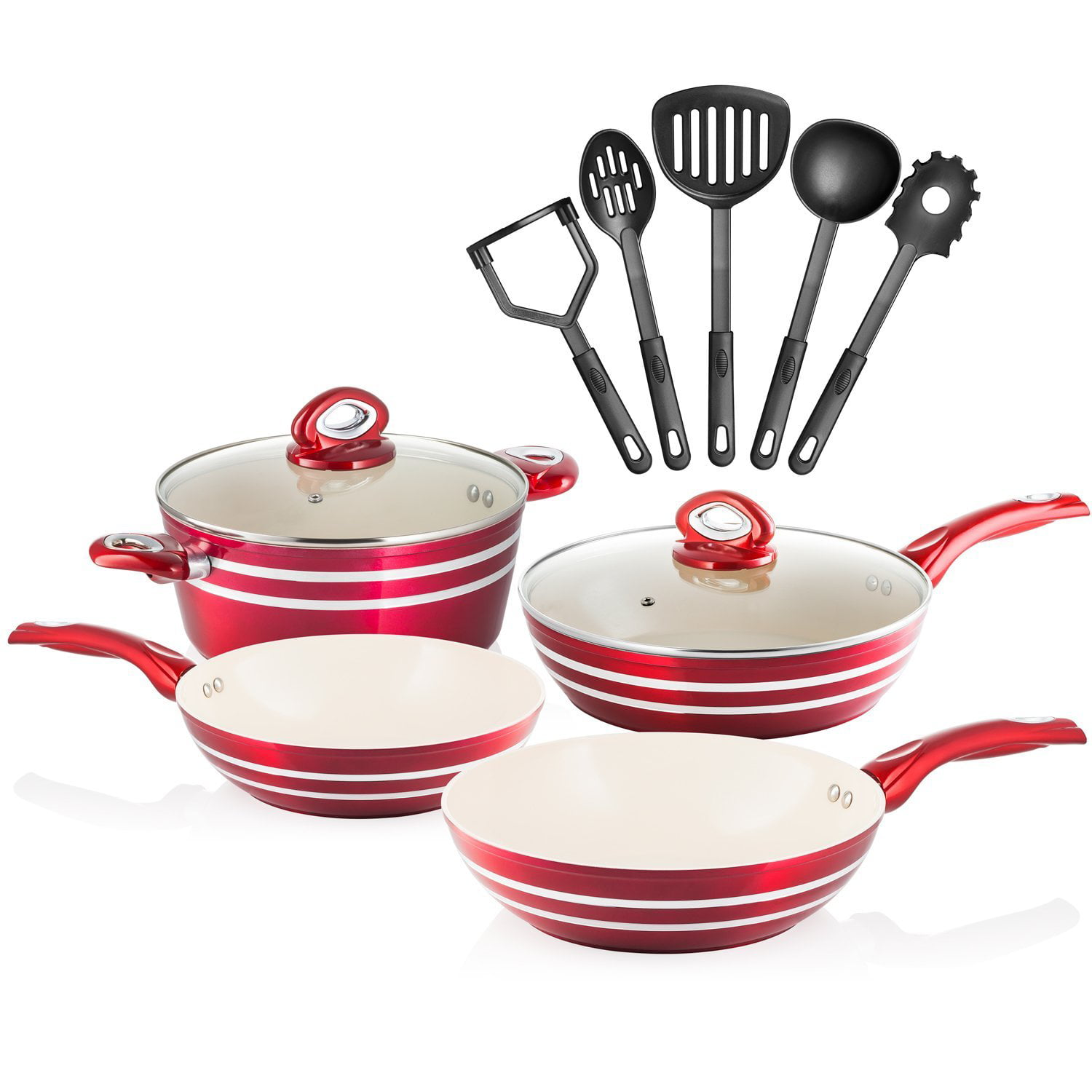 Chef's Star 11 Piece Professional Grade Aluminum Non-stick Pots & Pans Set Induction Ready Cookware Set Red  ... by Unassigned