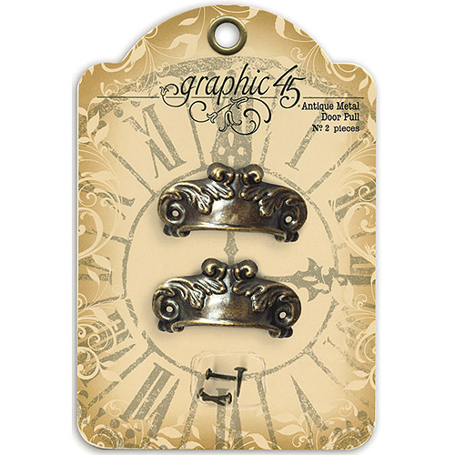 "Staples Ornate Metal Door Pulls 2/Pkg-Antique Brass W/4 Brads 1""X2"""