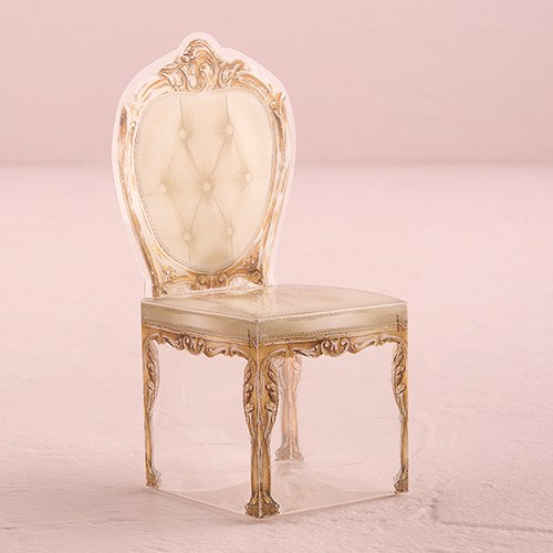 Transparent Chair Favor Boxes in Gold