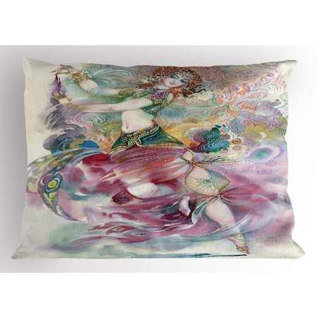 Watercolor Pillow Sham Oriental Dance Theme Young Girl Performing in Traditional Costume Fantasy Figure, Decorative Standard Size Printed Pillowcase, 26 X 20 Inches, Multicolor, by Ambesonne