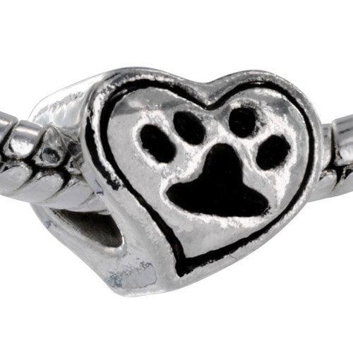 West Coast Jewelry Paw Print Heart Bead Charm