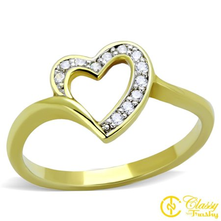 Classy Not Trashy® Women's Clear Cubic Zirconia Bypass Heart Shape Cut Out Ring - Size 5