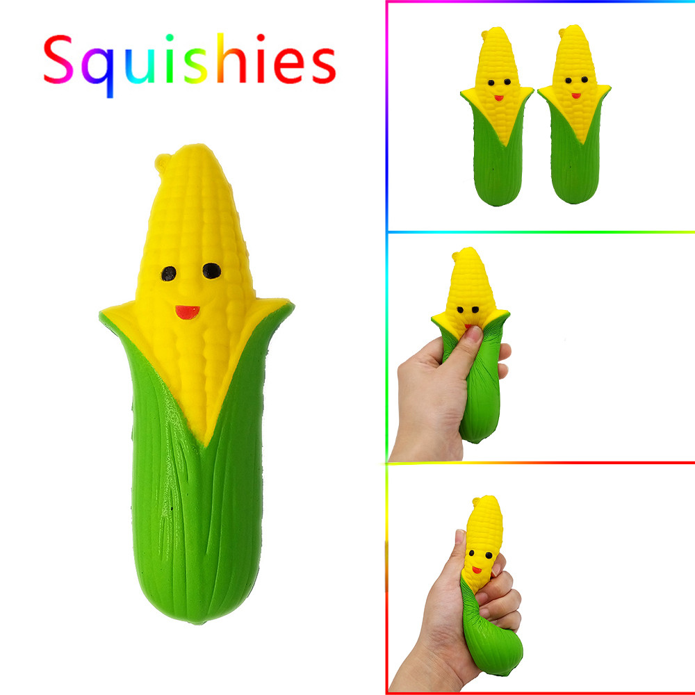 Iuhan Cartoon Smiley Corn Scented Squishies Slow Rising Kids Toys Stress Relief Toy