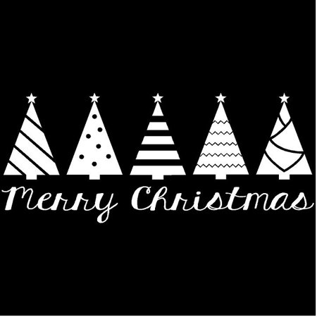 (Trees) Merry Christmas 12.5x30 wall saying vinyl lettering decal home decor art quote sticker