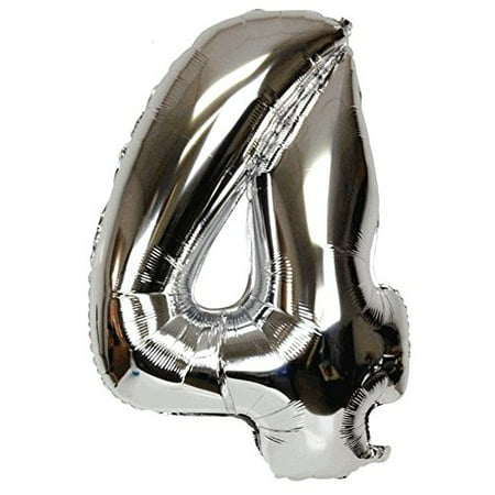 Just Artifacts Shiny Silver (30-inch) Decorative Floating Foil Mylar Balloons - Number: 4 - Letter and Number Balloons for any Name or Number Combination! (Letter Mylar Balloons)