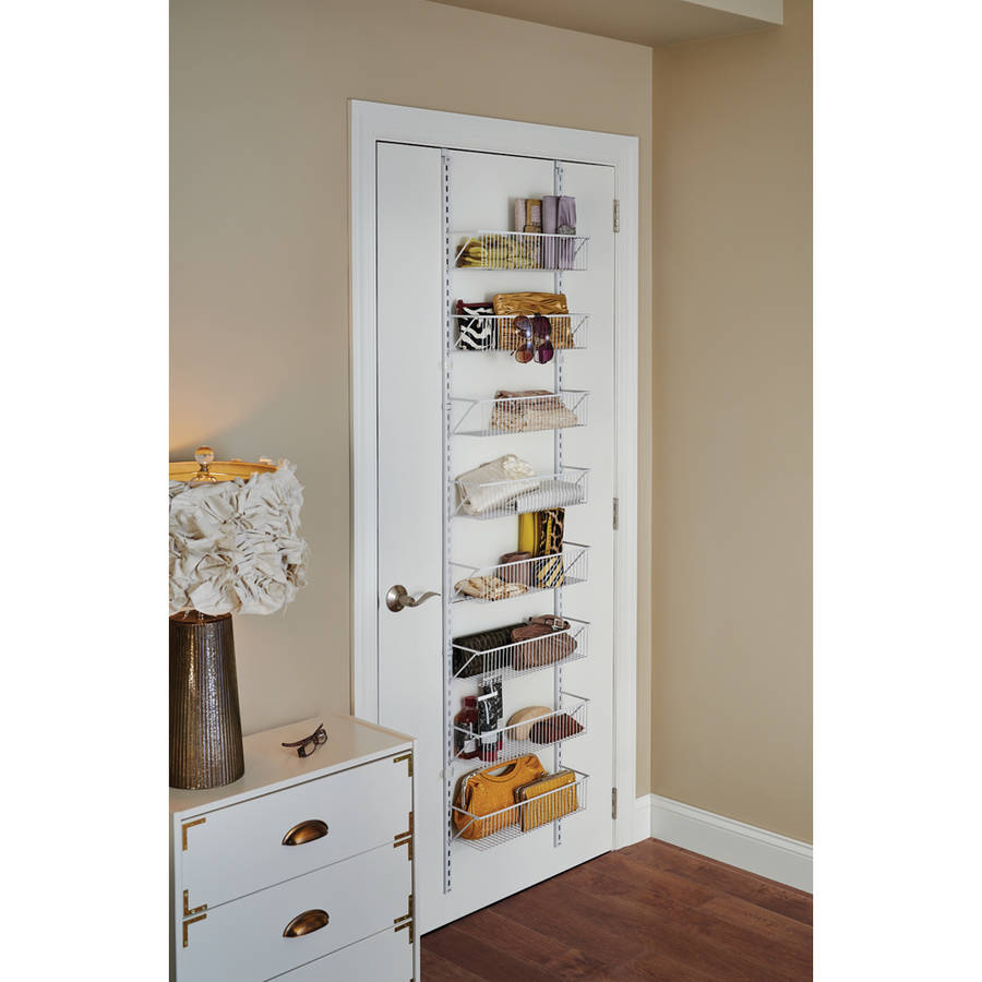 Kitchen pantry storage over the door basket organizer closetmaid bedroom white