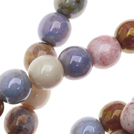 Czech Glass Beads, Round Druks 6mm, 1 Strand, Opaque Luster Mix ()