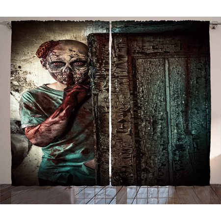 Zombie Decor Curtains 2 Panels Set, Monster behind the Door Looking with Evil Eyes Hell Nightmare Modern Print, Window Drapes for Living Room Bedroom, 108W X 90L Inches, Umber Teal Tan, by