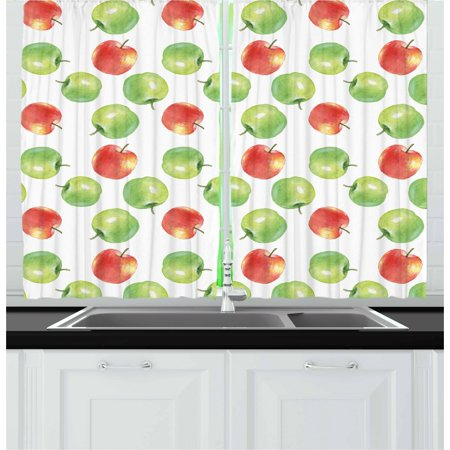 Apple Curtains 2 Panels Set, Watercolor Illustration of Granny Smiths and Celesta Brush Strokes Effect, Window Drapes for Living Room Bedroom, 55W X 39L Inches, Dark Coral Apple Green, by Ambesonne ()