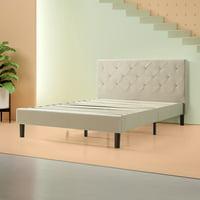 """Zinus Shalini 41"""" Upholstered Diamond Stitched Platform Bed, Dark Grey, Multiple Sizes"""