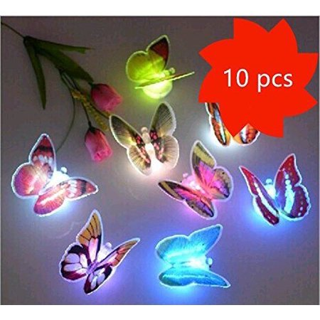 20 PCS LED Flashing 3D Butterfly Wall Decor Night Light Lamp Kids Bedroom Decor