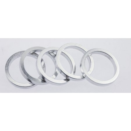 """Action Bicycle USA 5 Quantity 5mm 1-1/8"""" Silver Headset Spacers 25mm Total NEW"""