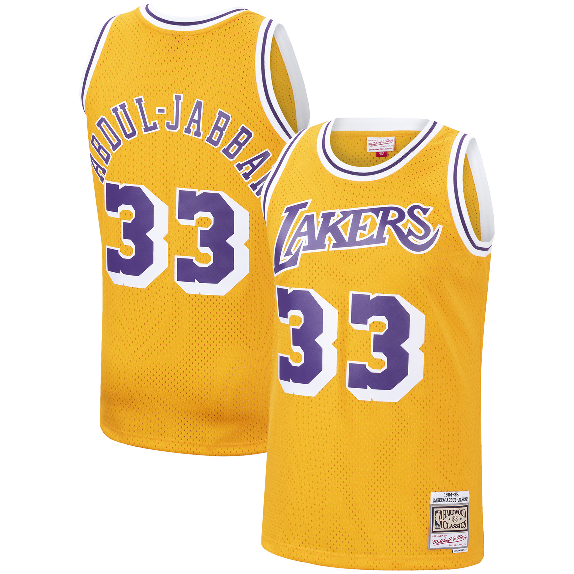 Kareem Abdul-Jabbar Los Angeles Lakers Mitchell & Ness 1984-85 Hardwood Classics Swingman Jersey - Gold