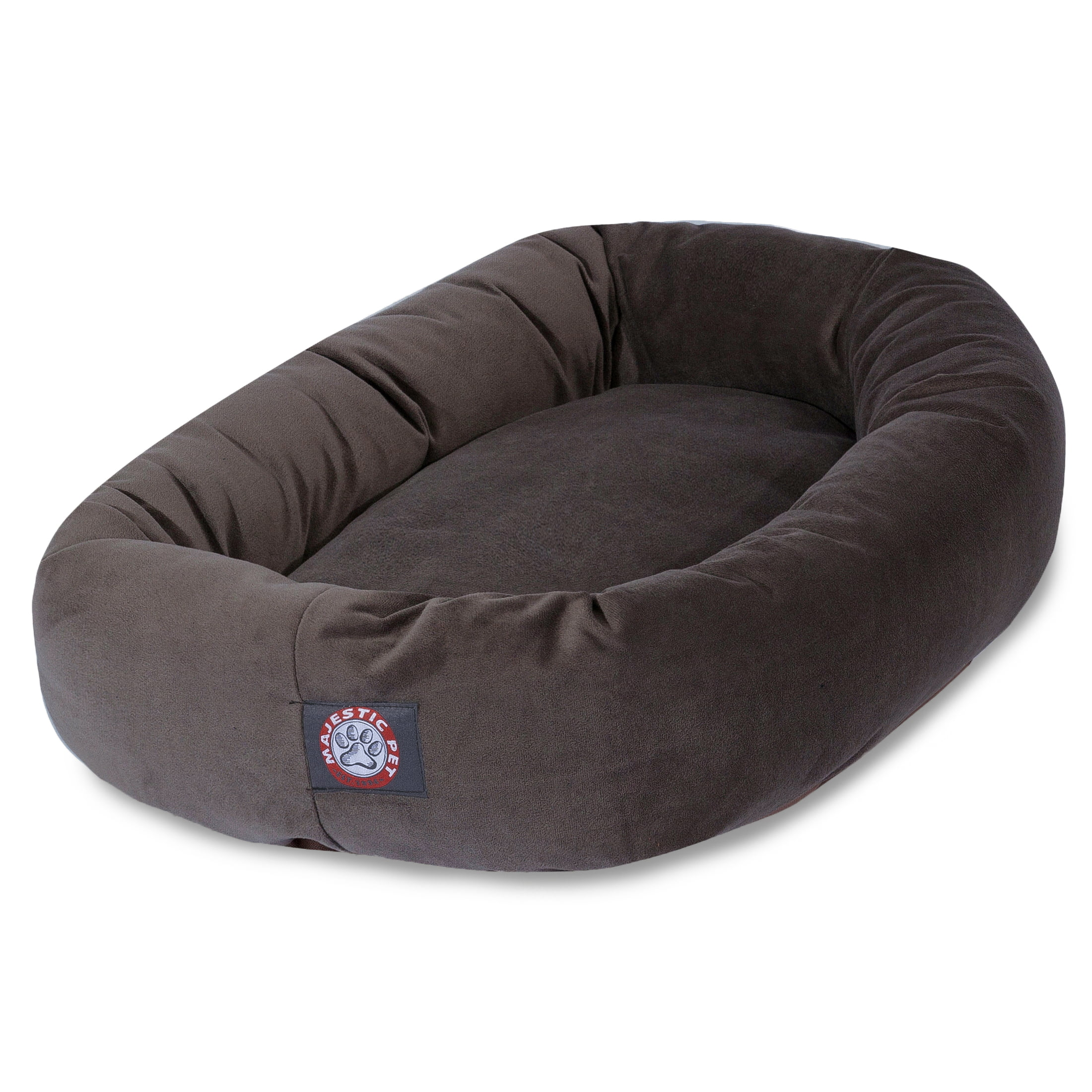 """Majestic Pet Suede Bagel Dog Bed Machine Washable Chocolate Large 40"""" x 29"""" x 9"""""""