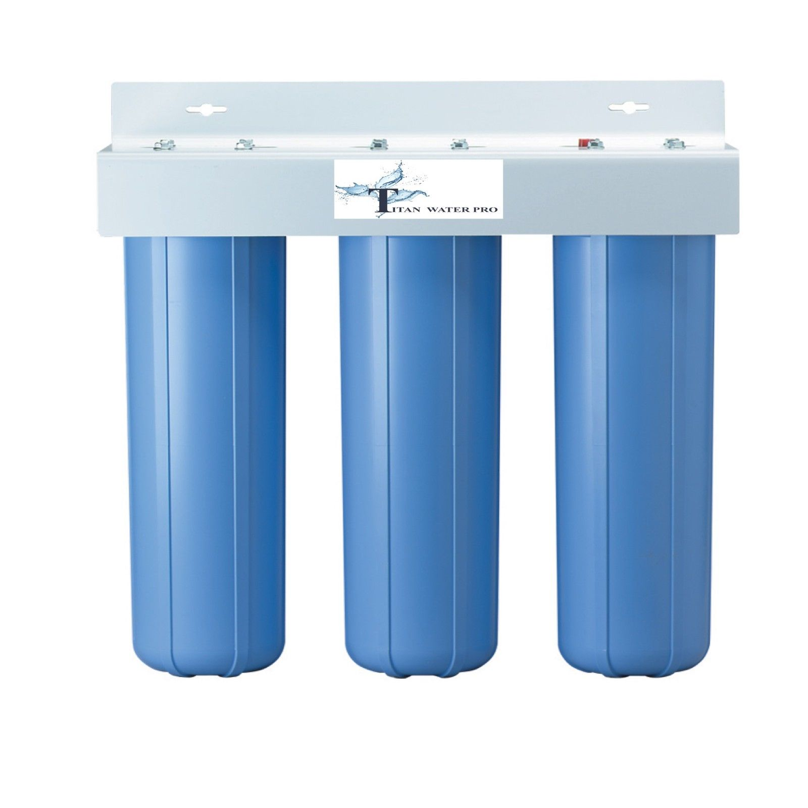 "TRIPLE BIG BLUE HOUSING WATER FILTERS SIZES 4.5"" X 20"" (FILTERS NOT INCLUDED)"