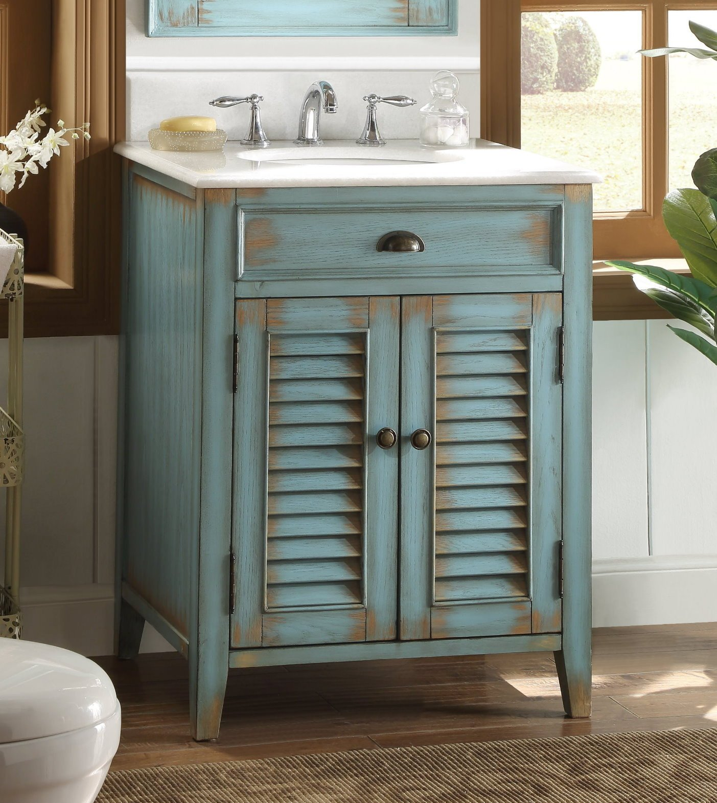 26 Benton Collection Distressed Blue Rustic Bathroom Vanity Cf 28883bu Bs Walmart Com Walmart Com