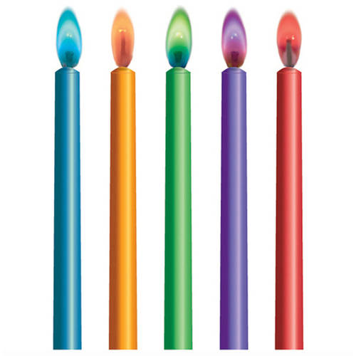 Colored Flame Birthday Candles, 10ct