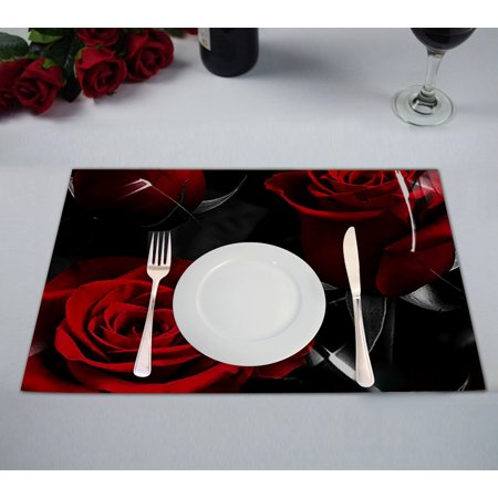 Fire Truck Placemat (GCKG Fire Red Rose And Black Leaves Table Placemat 12x18 Inch Set of)