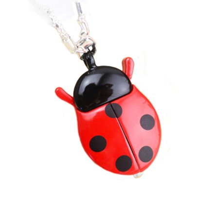 Black and Red Ladybug Beetle Necklace Pocket Watch Pendant Silver Chain Anti-Tarnish Watch, WP-28