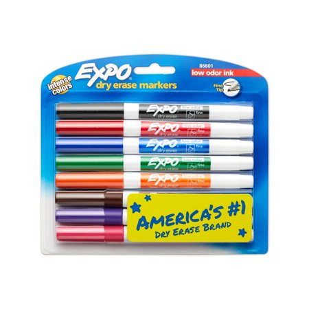 EXPO Low Odor Dry Erase Markers, Fine Tip, Assorted, 8 Count - Expo Bullet Tip