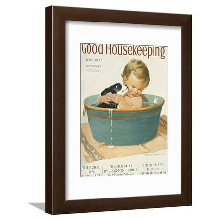 Good Housekeeping, June, 1932 Vintage Magazines Bathroom Puppies Children Framed Print Wall (Kids Framed Art)