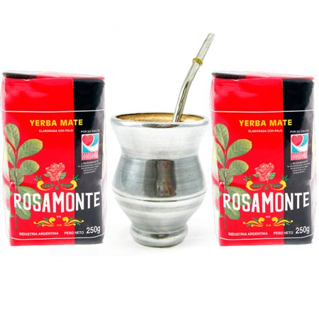 YERBA MATE ROSAMONTE KIT TEA MATE WOOD GOURD CUP STAINLESS STEEL BOMBILLA GIFT !