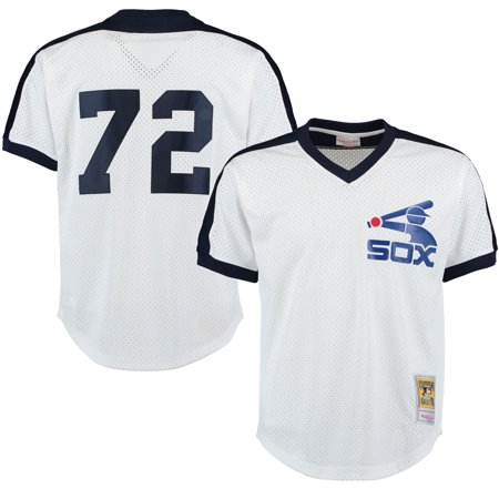 Chicago White Sox Comiskey Park - Carlton Fisk Chicago White Sox Mitchell & Ness Cooperstown Mesh Batting Practice Jersey - White