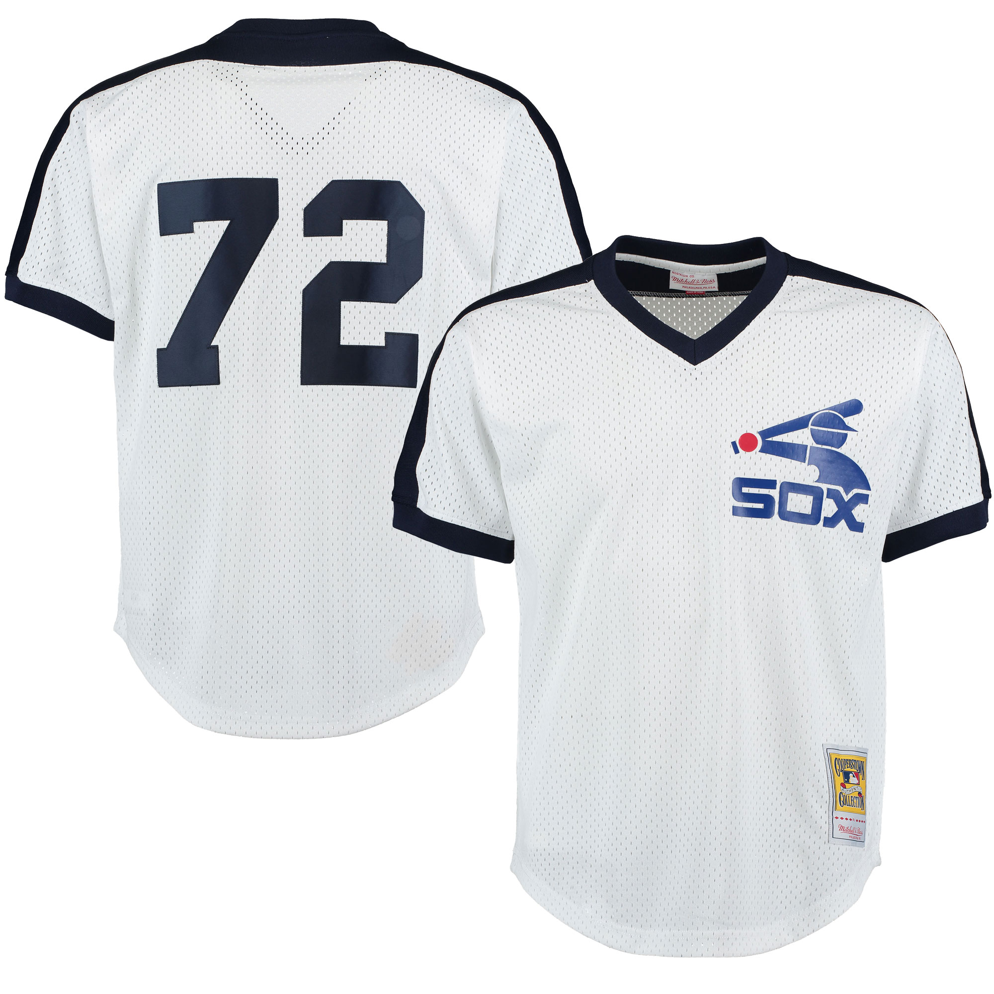 Carlton Fisk Chicago White Sox Mitchell & Ness Cooperstown Mesh Batting Practice Jersey - White